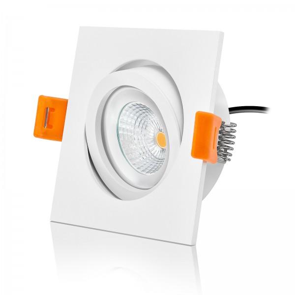 Ledox LED Einbaustrahler Set dimmbar & schwenkbar inkl. Forma Einbaurahmen weiß eckig 230V 6W Modul 2700K warmweiß
