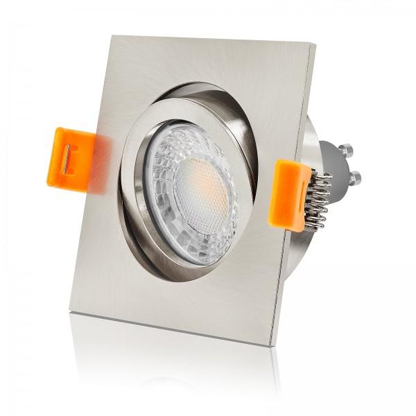 LED Einbaustrahler Set von LEDOX - dimmbar inkl. Einbaurahmen 230V 7W GU10 3000K Spot Deckenleuchte eckig gebürstet 68mm