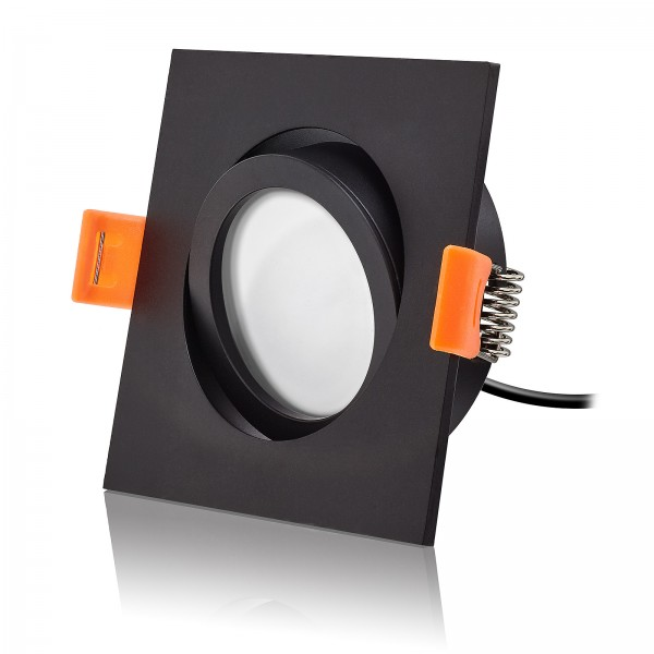 LED Einbaustrahler Set dimmbar & schwenkbar inkl. Premium Einbaurahmen Forma ES schwarz 230V 6W Modul inkl. Trafo