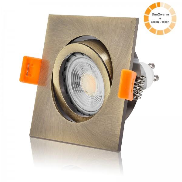 LED Einbaustrahler Set dimmbare Farbtemperatur 1800K-3000K inkl. Premium Einbaurahmen 230V 7W GU10 Ra>96