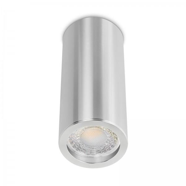 Tube Pure Aufbauleuchte - 230V 7W Modul 60° Abstrahlung - dimmbar - Aufbaurahmen silber poliert Aluminium 17cm