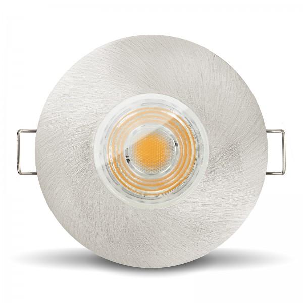 LED Bad Einbaustrahler Set IP65 dimmbar + Einbaurahmen eisen gebürstet230V 10W GU10 I 80W Ersatz