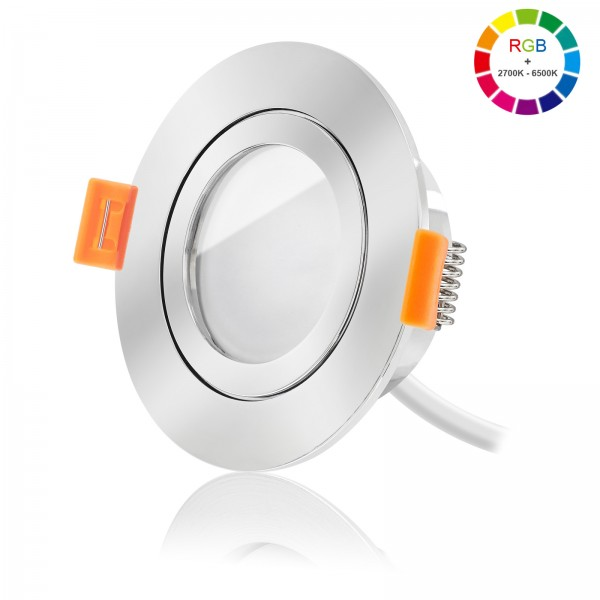 FORMA AQUA Led Bad Einbaustrahler Set dimmbar & schwenkbar inkl. Forma RC Einbaurahmen und Led Leuchtmittel Modul RGB + 2700k - 6500K