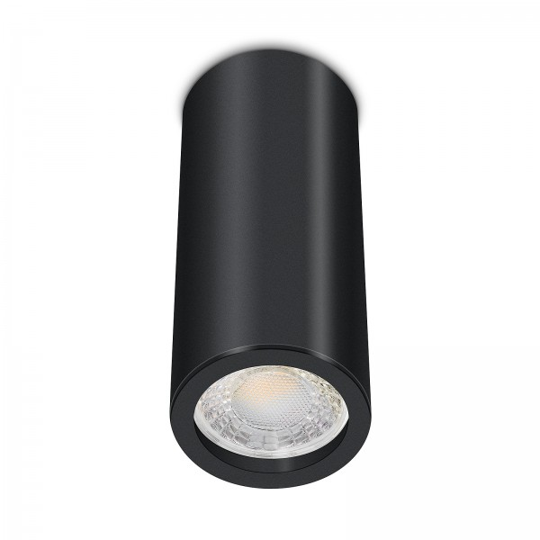 Tube Pure Aufbauleuchte - 230V 7W Modul 60° Abstrahlung - dimmbar - Aufbaurahmen schwarz Aluminium 17cm