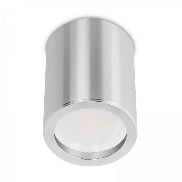 Tube Pure Aufbauleuchte - 230V 7W GU10 120° AW mit Milchglas - dimmbar - Aufbaurahmen silber poliert Aluminium 10cm