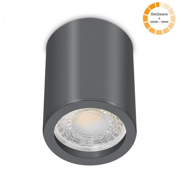 Tube Pure Aufbauleuchte - 230V 7W Modul dimm2warm - 60° Abstrahlung - dimmbar - Aufbaurahmen anthrazit Aluminium 10cm