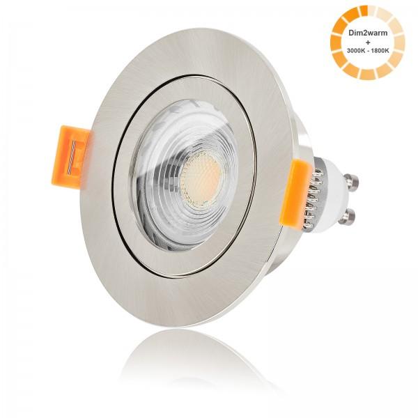 LED Bad Einbaustrahler Set IP44 dimmbare Farbtemperatur 1800K-3000K inkl. Forma Aqua RE Einbaurahmen 230V 7W GU10 dimtowarm