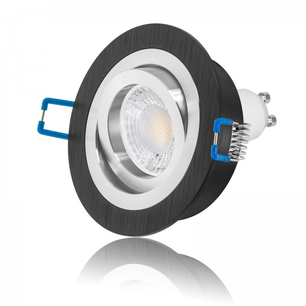 LED Einbaustrahler Set dimmbar & schwenkbar inkl. Einbaurahmen Bicolor schwarz 230V 7W GU10 Ra>93