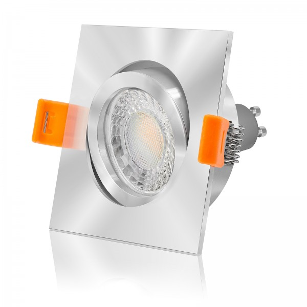 LED Einbaustrahler Set dimmbar inkl. Einbaurahmen Forma chrom eckig quadratisch 230V 7W GU10 3000K Spot Deckenleuchte