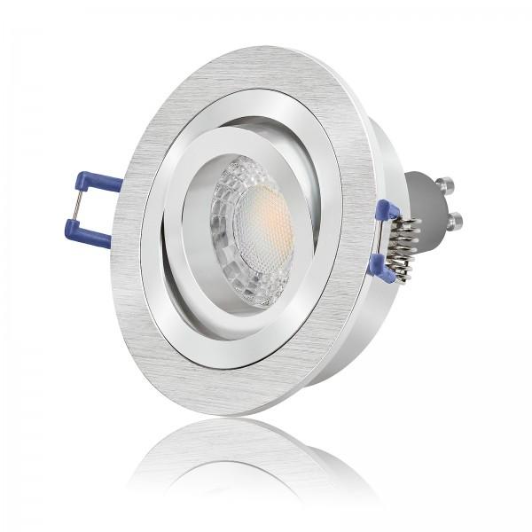 LED Einbaustrahler Set dimmbar & schwenkbar inkl. Bicolor Einbaurahmen 230V 7W GU10 3000K - 60° AW