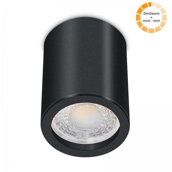 Tube Pure Aufbauleuchte - 230V 7W Modul dimm2warm - 60° Abstrahlung - dimmbar - Aufbaurahmen schwarz Aluminium 10cm
