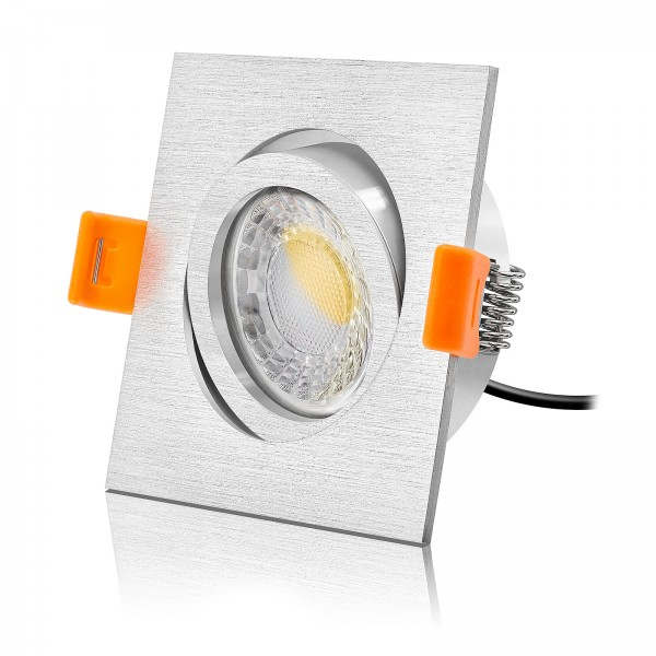 Led Premium Einbaustrahler Set Forma dimmbar & schwenkbar inkl. Einbaurahmen gebürstet 230V 7W Modul 28mm flach