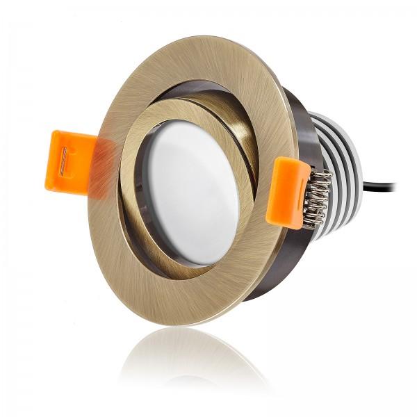 LED Einbaustrahler Set dimmbar & schwenkbar inkl. Einbaurahmen bronze 230V 10W Modul mit Ra>90