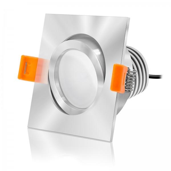 LED Einbaustrahler Set dimmbar & schwenkbar inkl. Einbaurahmen Forma EC chrom 230V 10W Modul mit Ra>90