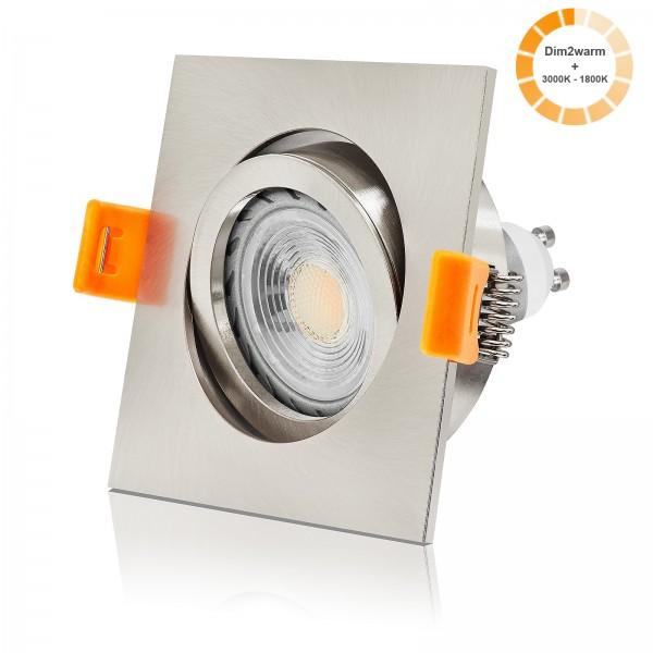 FORMA EE LED Einbauleuchte Set dimmbarer Farbtemperatur 1800K - 3000K inkl. Einbaurahmen gebürstet