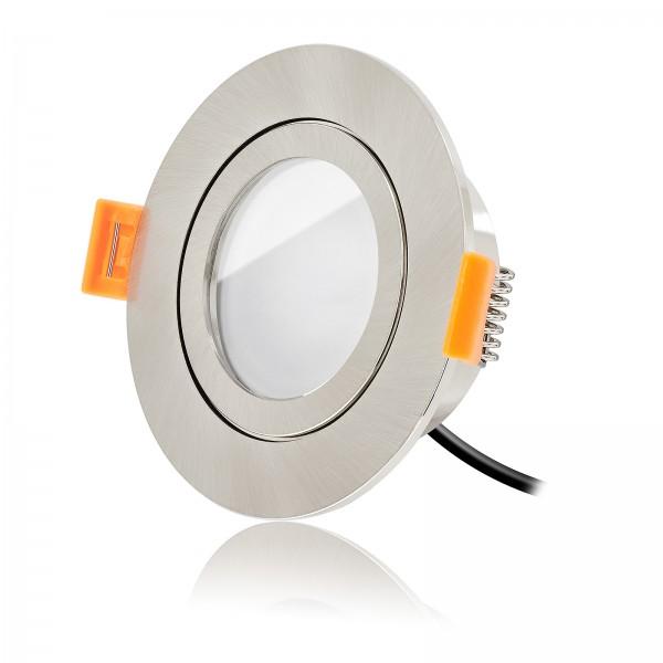 Ledox Led Bad Einbauspot Set IP44 dimmbar inklusive Forma Aqua Einbaurahmen rund eisen gebürstet mit 7W Modul