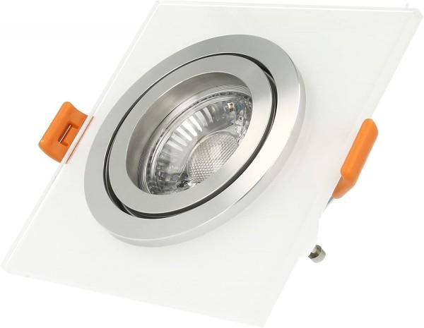 LISTA VIDRIO Einbaustrahler Design Echtglas Einbaurahmen weiß eckig schwenkbar 68mm Lochausschnitt