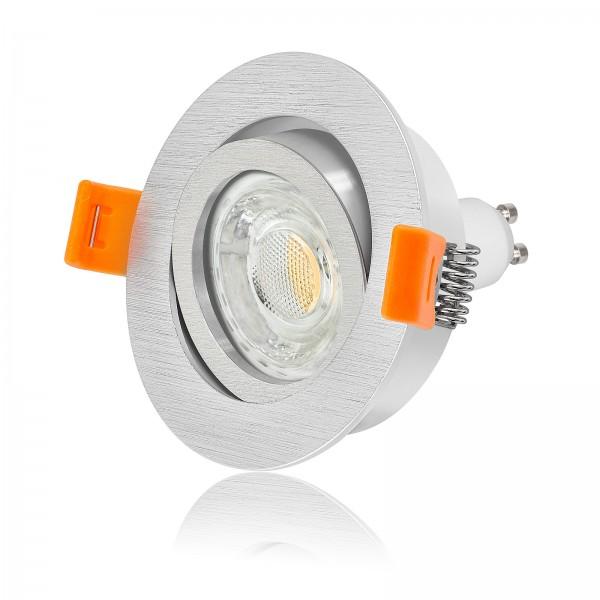 FORMA R LED Einbaustrahler Set dimmbar & schwenkbar inkl. Einbaurahmen Ring gebürstet 230V 10W GU10