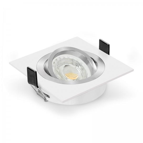 LED Einbaustrahler Set dimmbar & schwenkbar inkl. Einbaurahmen Bicolor weiß eckig quadratisch 230V 10W GU10 3000k warmweiß