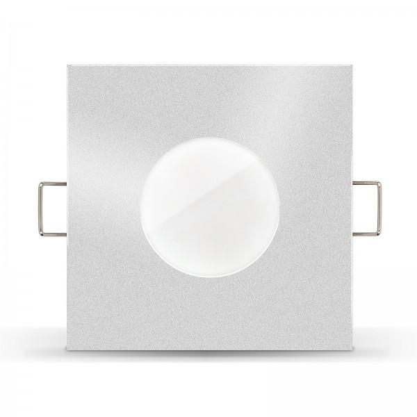 LISTA AQUA LED Bad Einbaustrahler Set IP65 dimmbar inkl. Einbaurahmen silber 230V 7W Modul inkl. Mini Trafo Ra>90 - Frontansicht