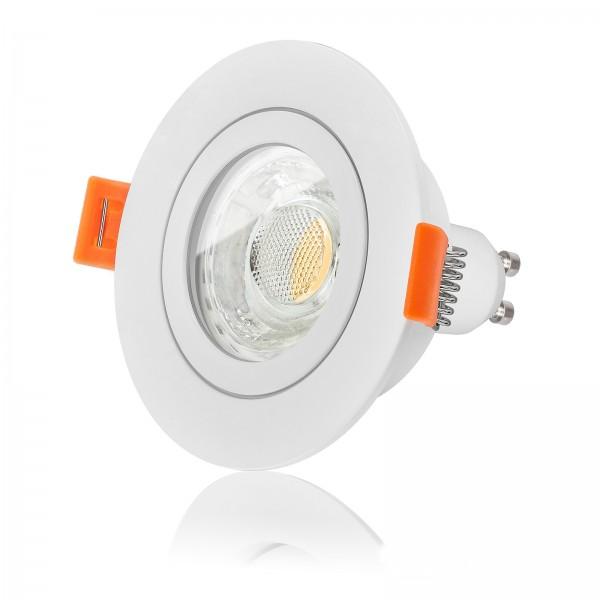 FORMA RW AQUA LED Bad Einbaustrahler Set IP44 dimmbar inkl. Forma Einbaurahmen weiß 230V 10W GU10 3000k warmweiß