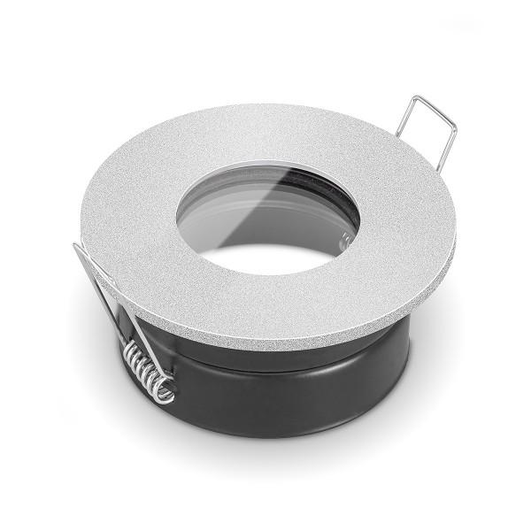 Feuchtraumleuchte IP65 von LEDOX - für Led & Halogenleuchtmittel geeignet I Einbaurahmen Einbauleuchte Bad silber