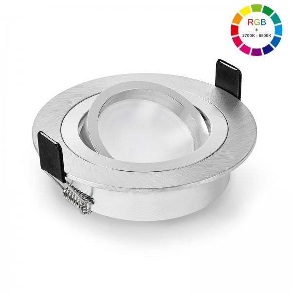 Led Premium Einbaustrahler Set dimmbar & schwenkbar inkl. Einbaurahmen Bicolor und Led Leuchtmittel Modul RGB + 2700k - 6500K