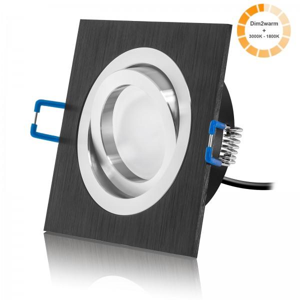 LED Einbaustrahler Set dimmbare Farbtemperatur 1800K - 3000K inkl Bicolor Einbaurahmen 230V 7W Modul 24mm