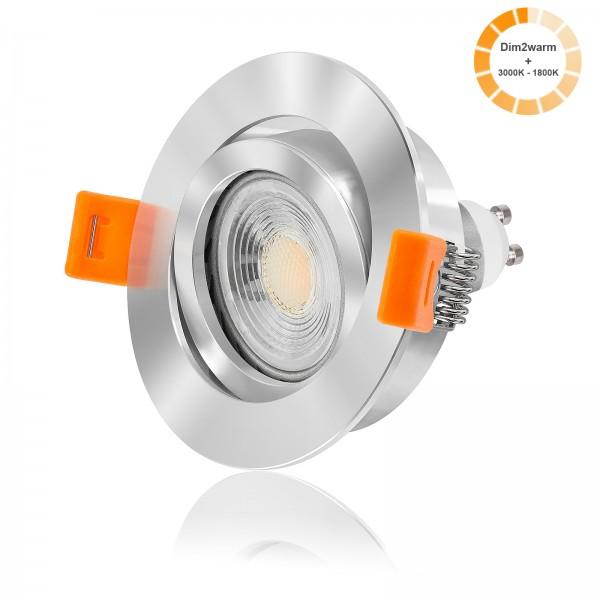 FORMA RC LED Einbaustrahler Set dimmbare Farbtemperatur 1800K - 3000K inkl. Einbaurahmen chrom 7W GU10
