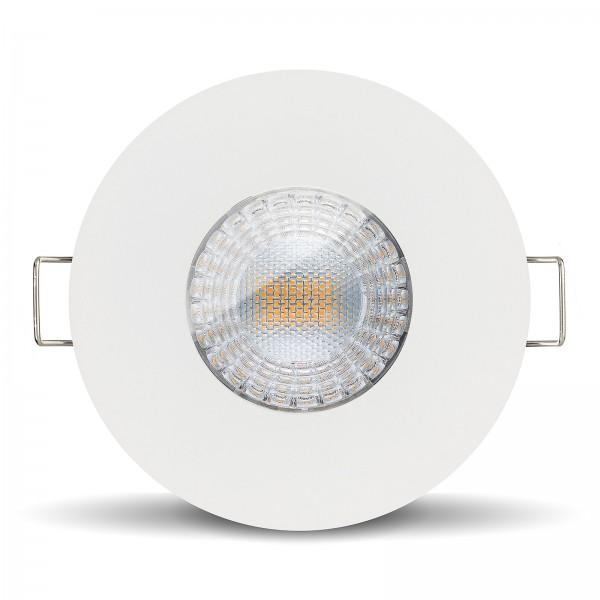 LISTA AQUA LED Bad Einbaustrahler Set IP65 dimmbar inkl. Einbaurahmen rund weiß 230V 7W Modul inkl. Trafo mit Ra>90 - frontanischt