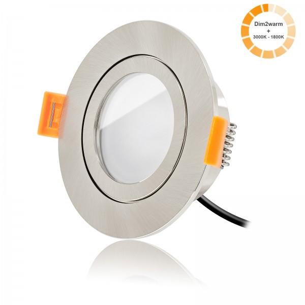 Ledox Led Bad Einbaustrahler Set IP44 dimmbare Lichtfarbe 1800K-3000K inkl. Forma Aqua Einbaurahmen 230V 7W Modul mit matter Linse