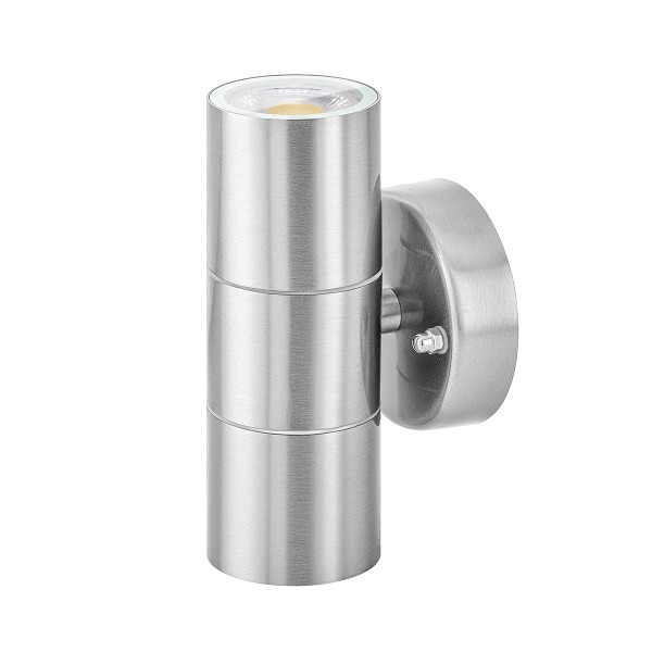 LED Außenlampe Up & Down Set IP44 von LEDOX in Edelstahl - dimmbar inkl. Leuchtmittel 230V 7W 3000K