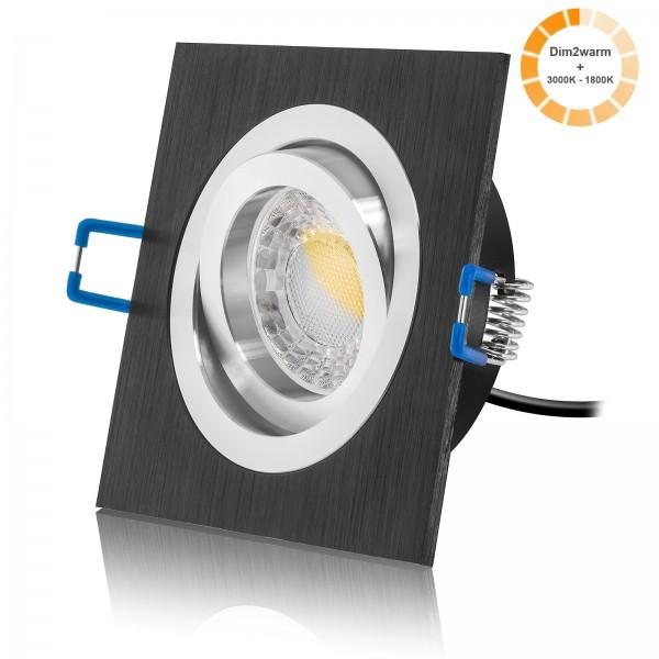 LED Einbaustrahler Set dimmbare Farbtemperatur 1800K-3000K inkl. Bicolor Einbaurahmen schwarz| Abstrahlwinkel 60° I 230V 7W COB LED 24mm