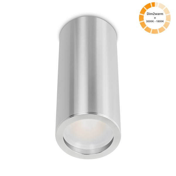 Tube Pure Aufbauleuchte silber poliert Aluminium 17cm 230V 7W dimmbare Lichtfarbe 120° - Abstrahlung 95 CRI