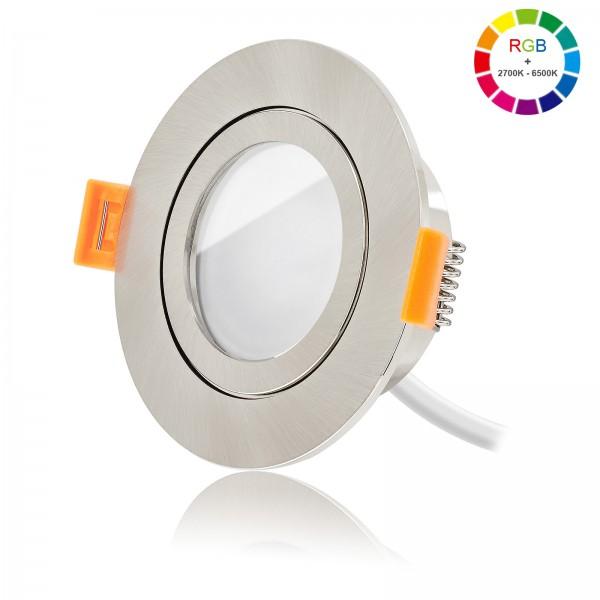 Ledox Led Bad Einbaustrahler Set dimmbar inkl. FORMA AQUA RE Einbaurahmen und Led Leuchtmittel Modul RGB + 2700k - 6500K