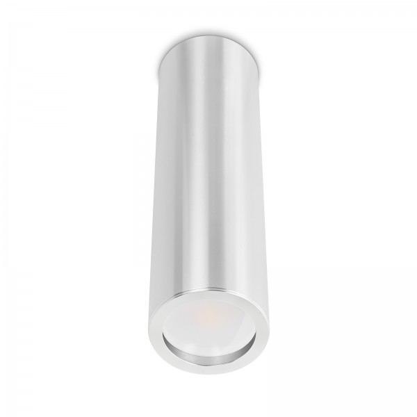 Tube Pure Aufbauleuchte silber poliert Aluminium 24cm 230V 7W GU10 120° AW dimmbar mit matter Linse