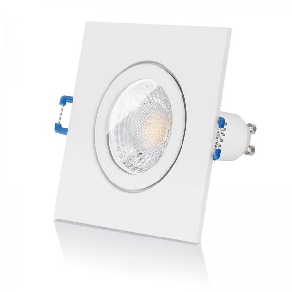 LED Bad Einbaustrahler Set IP44 dimmbar inkl. Einbaurahmen weiß eckig quadratisch 230V 7W GU10 mit Ra>93